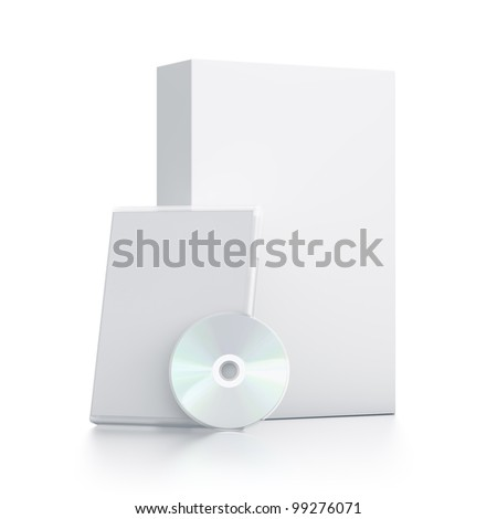 White package with CD - DVD. High resolution 3D illustration with clipping paths. - stock photo