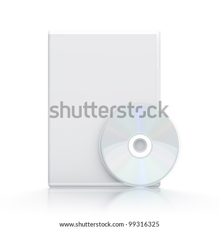 White package with CD - DVD. High resolution 3D illustration with clipping paths.