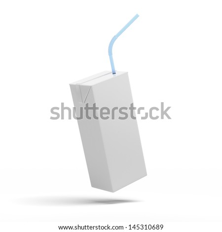 White packaging, box of juice, yogurt, milk - stock photo
