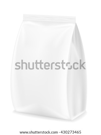 white packaging for food illustration isolated on white background - stock photo
