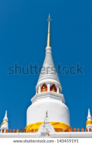 White Pagoda at Wat Phra ko , Songkhla , Thailand  Generality in Thailand, This photo is public domain or treasure of Buddhism, no restrict in copy No any trademark or restrict matter in photo. - stock photo