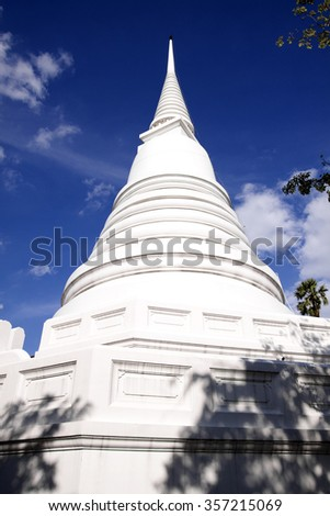 White pagoda in the temple of Ayutthaya Thailand. - stock photo