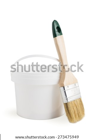 White paint can and paint brush isolated on the white background - stock photo