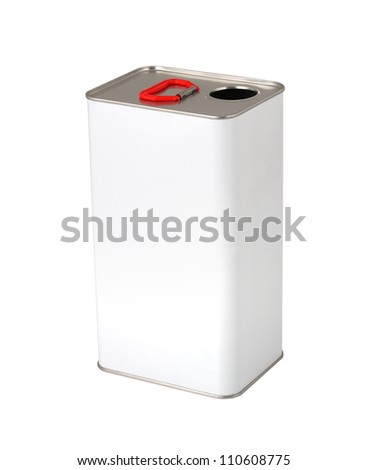 White paint can without label isolated on white - stock photo