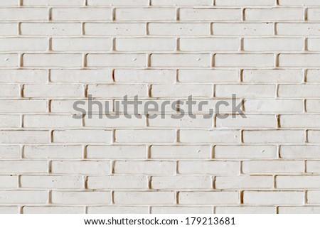 White painted brick wall seamless texture - stock photo