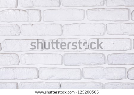 White painted brick wall texture background - stock photo