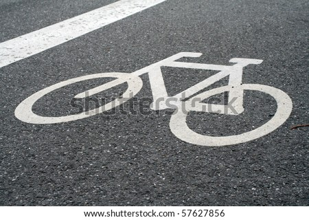 white painted sign for bikes - stock photo