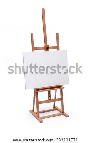 White painter canvas on wooden easel isolated on white with clipping path