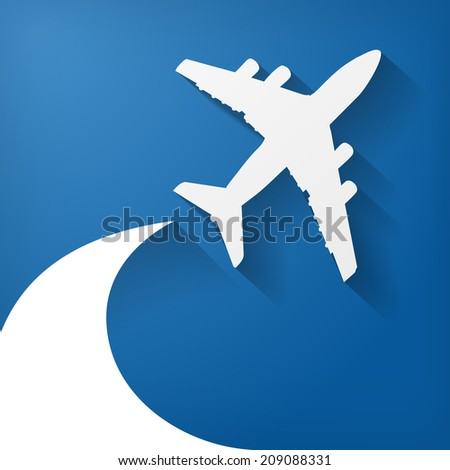 white paper airplane on the blue background - stock photo