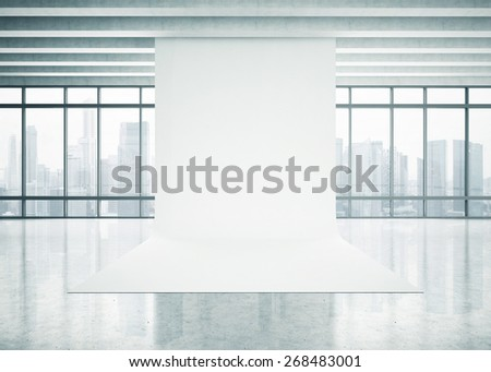 White paper background in the space with panoramic view. 3D rendering - stock photo