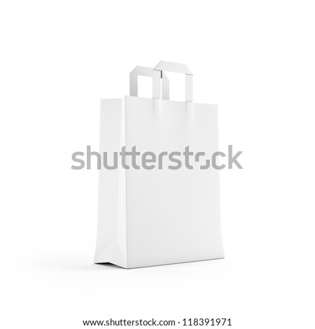 White paper bag isolated on white - stock photo