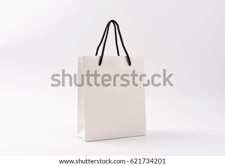 Blank White Paper Gift Bag Bow Stock Photo 580700785 - Shutterstock