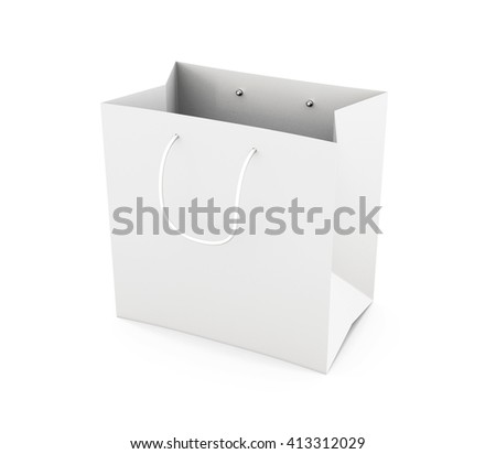 White paper bag with handles isolated on white background. Bag for purchase. Paper white bag for your design. 3d render image. - stock photo