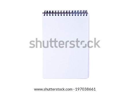 White Paper Blank Book, Notebook, Sketchbook, Textbook On a Spring Isolated on white background, Concept and Idea to write your text here.