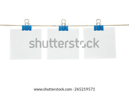 White paper cards hanging on a rope, isolated on a white background. - stock photo