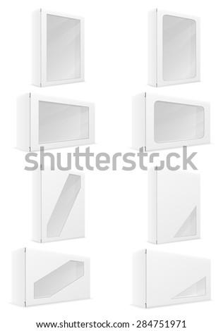 white paper carton box packing set icons illustration isolated on background - stock photo