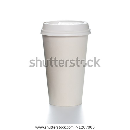 White paper coffee cup with plastic cap on top and shadow underneath. Blank space for copy on cup and besides. Square format. - stock photo