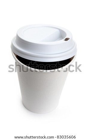 White Paper Cup and Coffee close up - stock photo