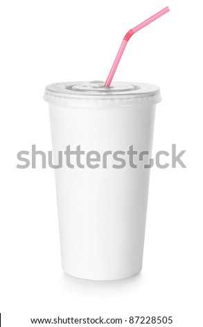 White paper cup and red drinking straw isolated on white background - stock photo