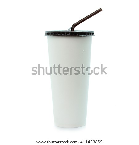 White paper cup and straw isolated on white background