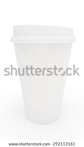 white paper cup for coffee with a cover