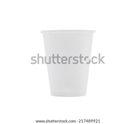 White Paper Cup on a white background.  - stock photo