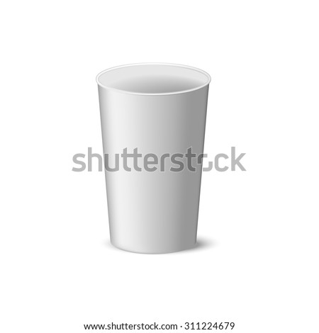 White paper cup without a lid in stie realism, coffee, tea, cold drinks, and its design - stock photo