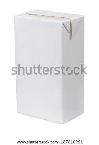 White paper drink packaging isolated on white - stock photo