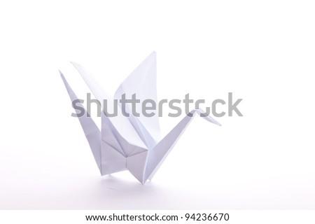 White Paperfolded Origami Crane Isolated On Stock Photo Royalty