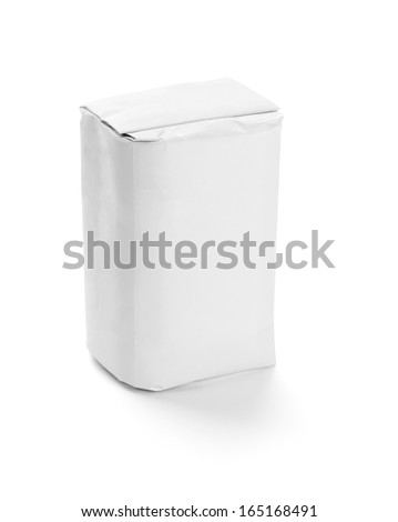 white paper food package on white background - stock photo