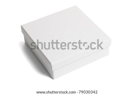 White paper gift box on isolated background - stock photo