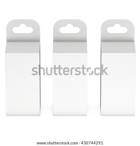 White paper hanging box group. Packaging container with hanging hole. Mock up template. 3d render isolated on white background. - stock photo