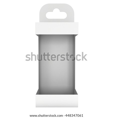 White paper hanging open box. Packaging container with hanging hole. Mock up template. 3d render isolated on white background. - stock photo