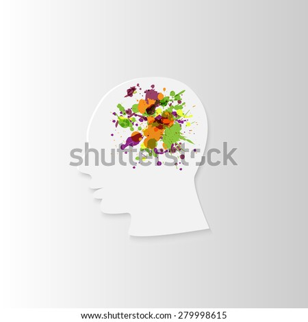 white paper head in profile with spray paint in the brain, on a white background - stock photo