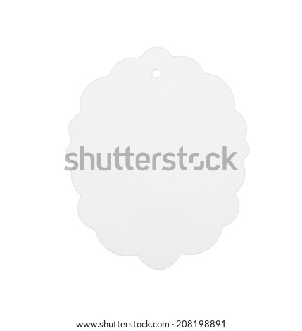 White paper label isolated on white background - stock photo