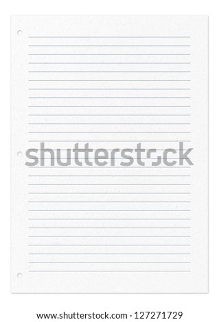 White paper. Lines pattern page of paper isolated on white - stock photo