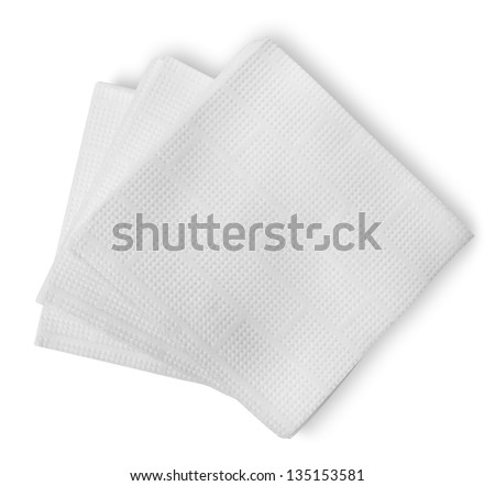 White paper napkins isolated on a white background - stock photo