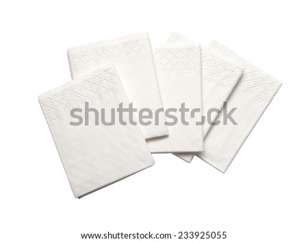 White Paper Napkins Isolated on White Background