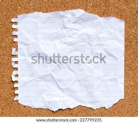 White paper on cork board  - stock photo