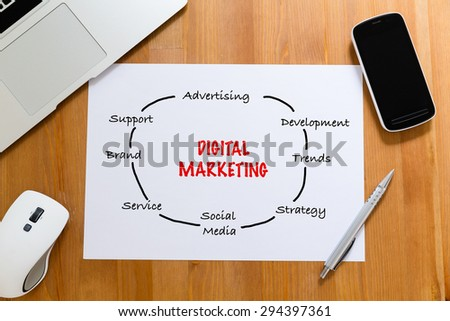 White paper on working desk with hand draft of digital marketing concept - stock photo