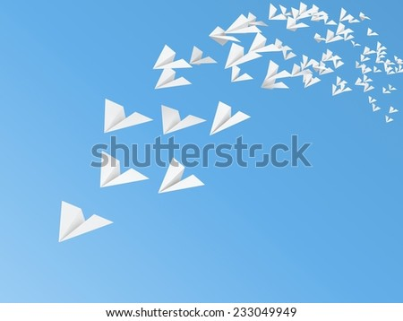 white paper plane models flying on sky