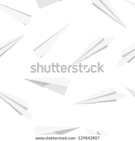 White  Paper planes, seamless wallpaper,  illustration