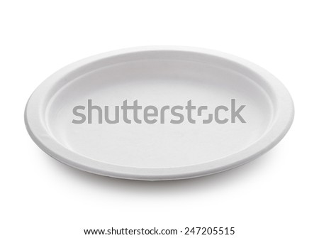 white paper plate isolated on white background - stock photo