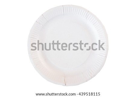white Paper plate isolated on white background, clipping path - stock photo