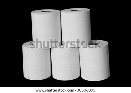 White paper reels isolated on black background