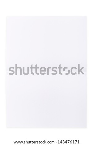 White paper sheet folded in half isolated over a white background - stock photo
