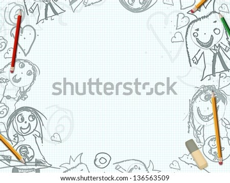 white paper sheet with childish drawings illustration - stock photo
