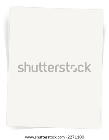 White Paper Sheet with shadows isolated on white background with perfect empty space for text