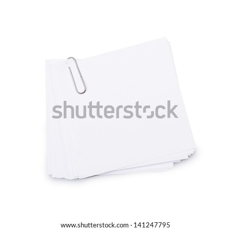 White paper sheets for letter with clip isolated on a white background - stock photo