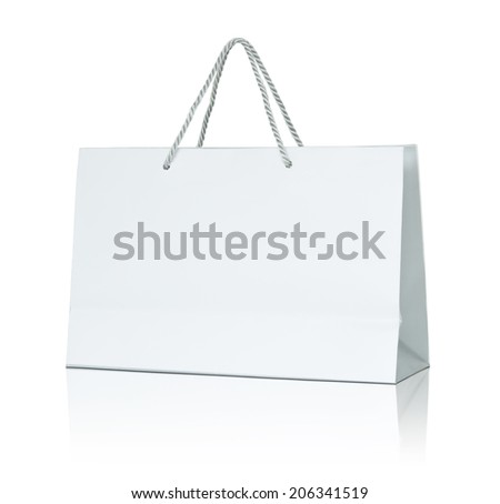 White paper shopping bag - stock photo